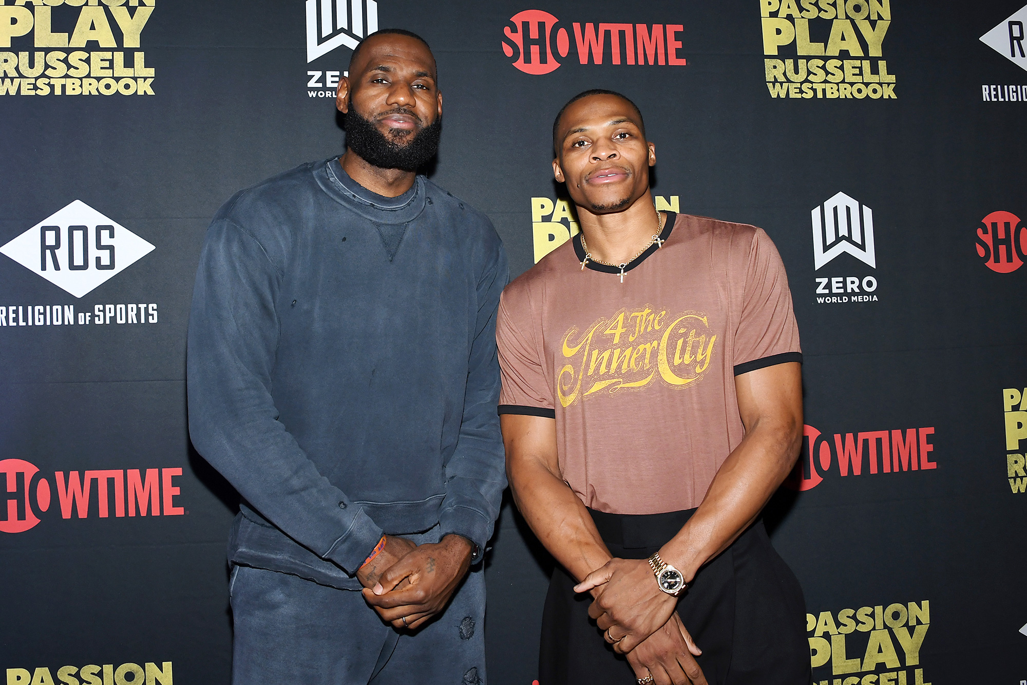 """LeBron James and Russell Westbrook attend """"Passion Play: Russell Westbrook"""" and Religion of Sports Documentary Premiere at iPic Theaters on October 11, 2021 in Los Angeles, California."""