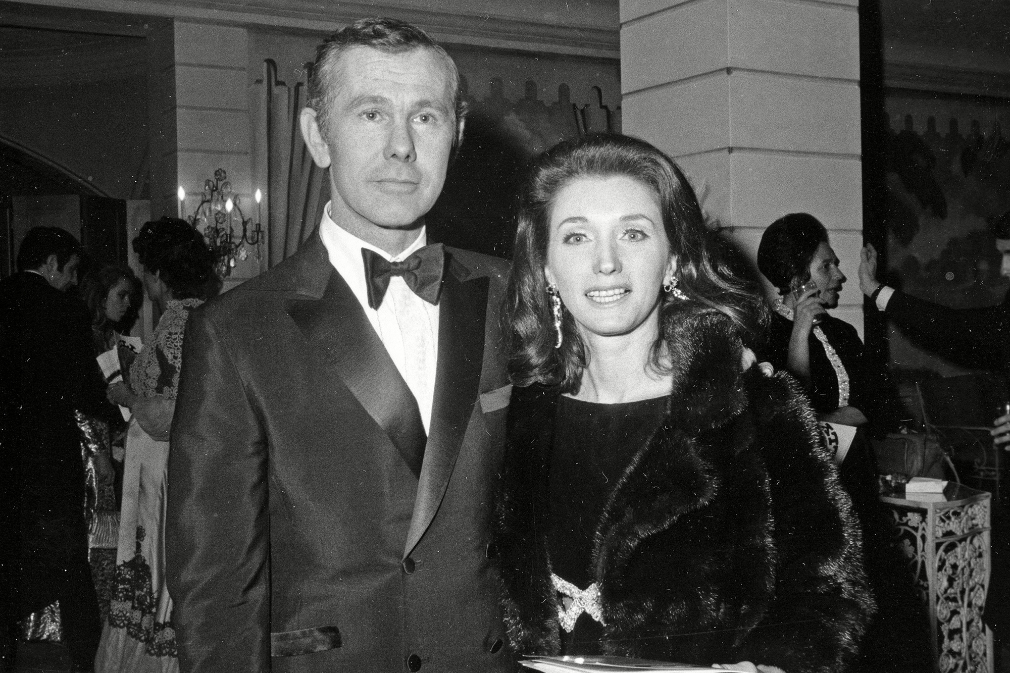 """Johnny Carson, Joanne Carson, Joanne Copeland Comedian Johnny Carson and his wife Joanne Carson attend a party in the Grand Ballroom of New York's Hotel Pierre following the opening of """"Hello Dolly."""" Their marriage from 1963 to 1972 ended in divorce. Joanne Carson, who later in life became a close confidant of Truman Capote, died at home in Los Angeles, according to the executor of her estate. Johnny Carson, who hosted """"The Tonight Show"""" from 1962 to 1992, died in 2005 Obit Joanne Carson, New York, USA"""