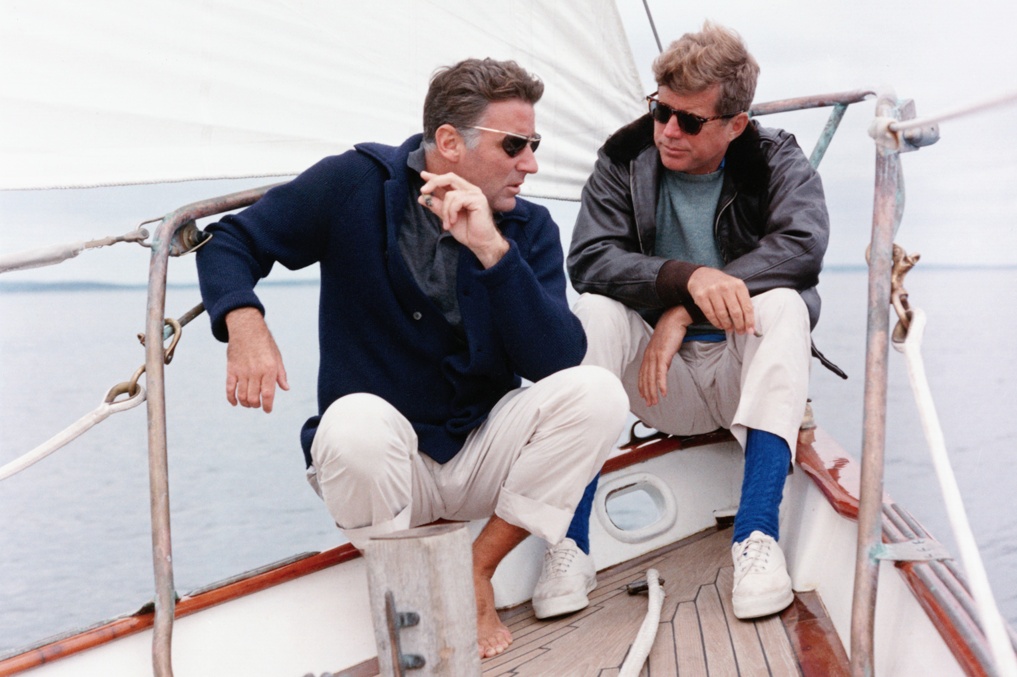 President Kennedy and his brother-in-law Peter Lawford aboard the United States Coast Guard yacht 'Manitou'
