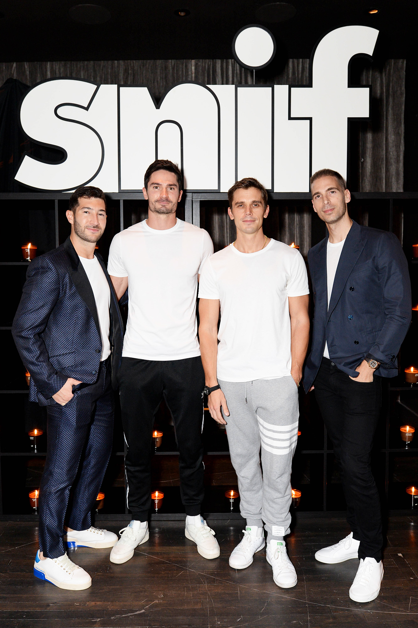 Antoni Porowski and his boyfriend Kevin Harrington with Simon Huck and his soon-to-be husband Phil Riportella at the Snif candle launch at Zero Bond in NYC