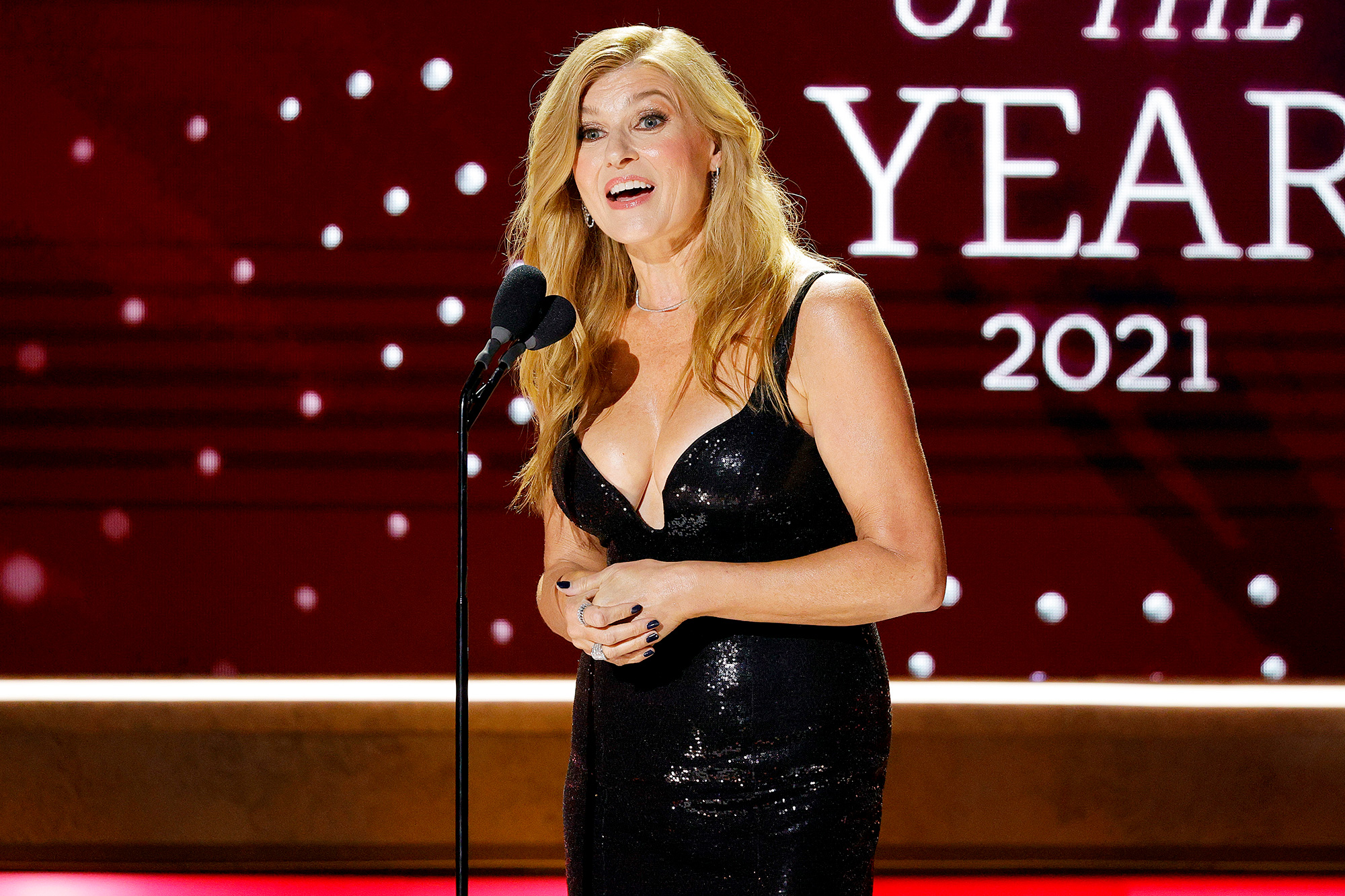 Connie Britton speaks onstage during the 2021 CMT Artist of the Year on October 13, 2021 in Nashville, Tennessee.