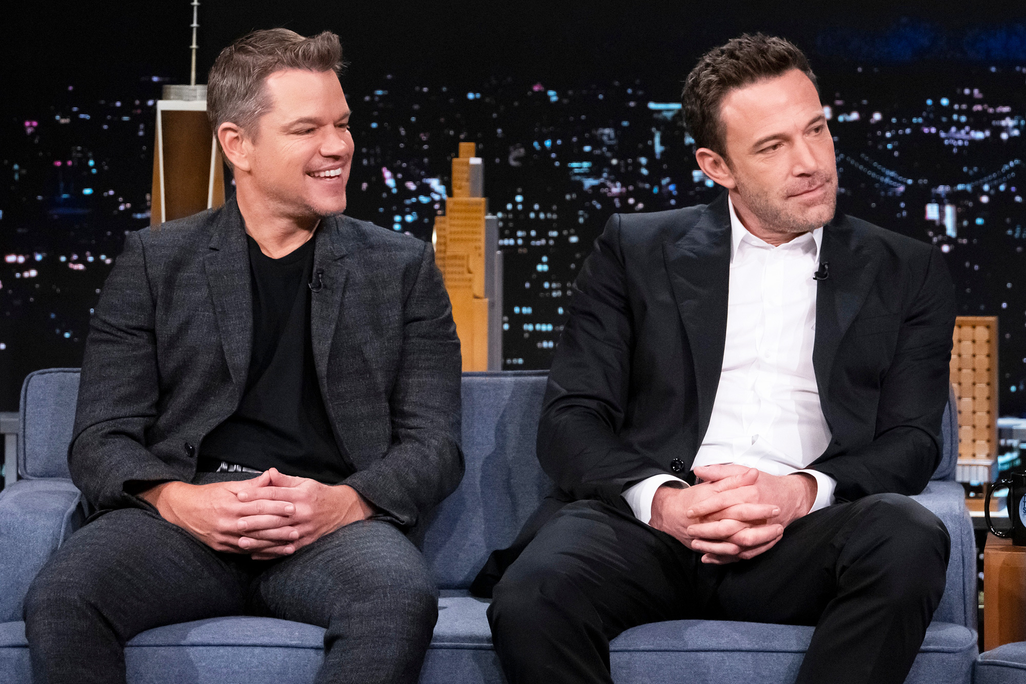 THE TONIGHT SHOW STARRING JIMMY FALLON -- Episode 1535 -- Pictured: (l-r) Actor Matt Damon and actor Ben Affleck during an interview on Wednesday, October 13, 2021
