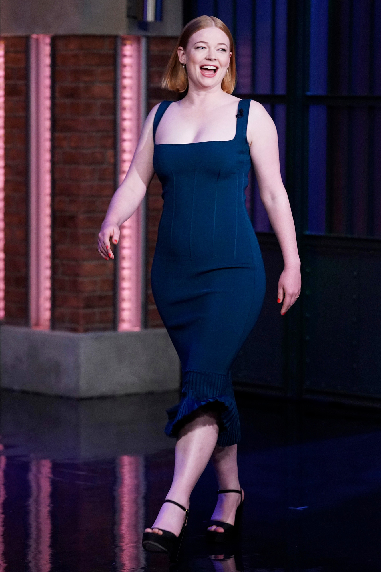LATE NIGHT WITH SETH MEYERS -- Episode 1208A -- Pictured:Actress Sarah Snook arrives on October 13, 2021