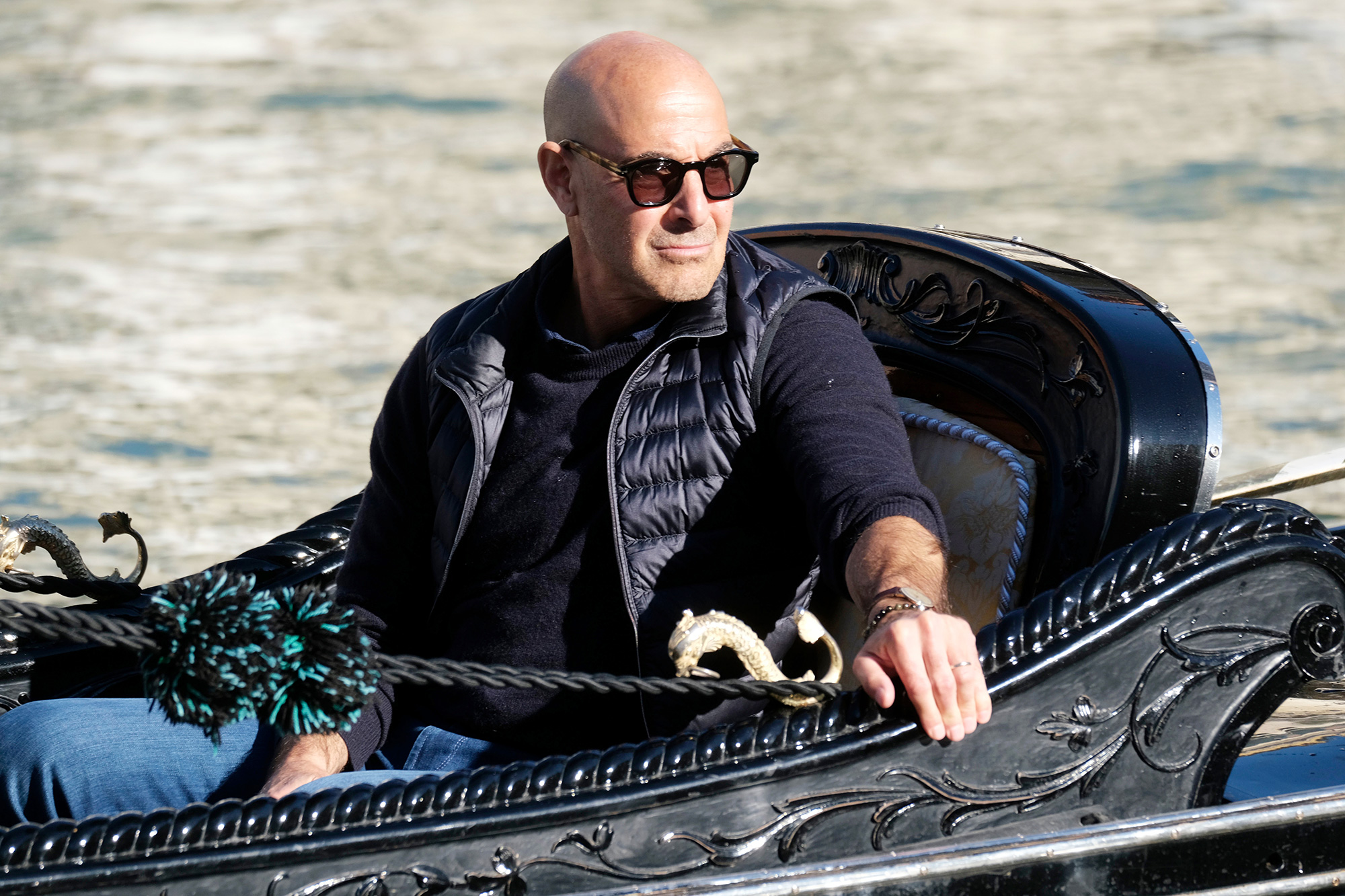 Stanley Tucci filming the American travel and food show Searching for Italy in Venice, Italy. Stanley Tucci is seen filming in Venice, Italy - 14 Oct 2021