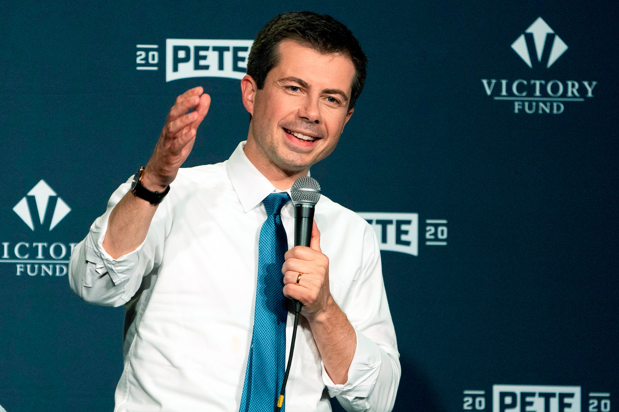 Mayor of South Bend, Indiana Pete Buttigieg speaks at an LGBTQ Victory Fund event June 28, 2019 in New York. - At the event LGBTQ Victory Fund announced that it was endorsing Buttigieg for presidentAnnise Parker, president of the Victory Fund, celebrates with South Bend's Mayor Pete Buttigieg