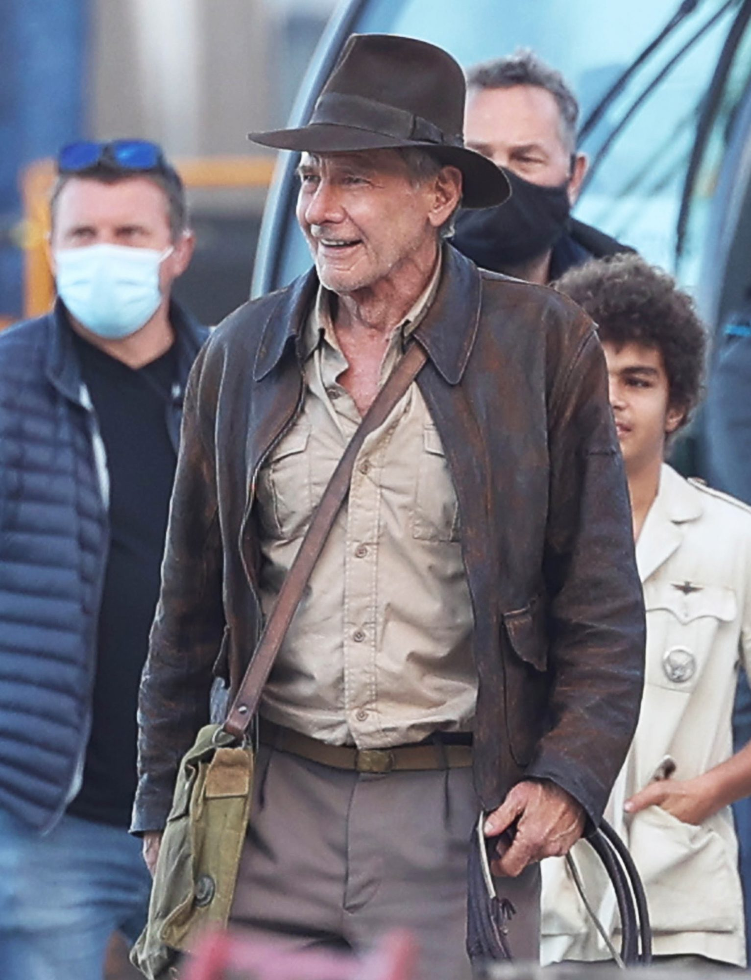 """Harrison Ford is seen on the set of """"Indiana Jones 5"""" in Sicily on October 18, 2021 in Castellammare del Golfo, Italy"""