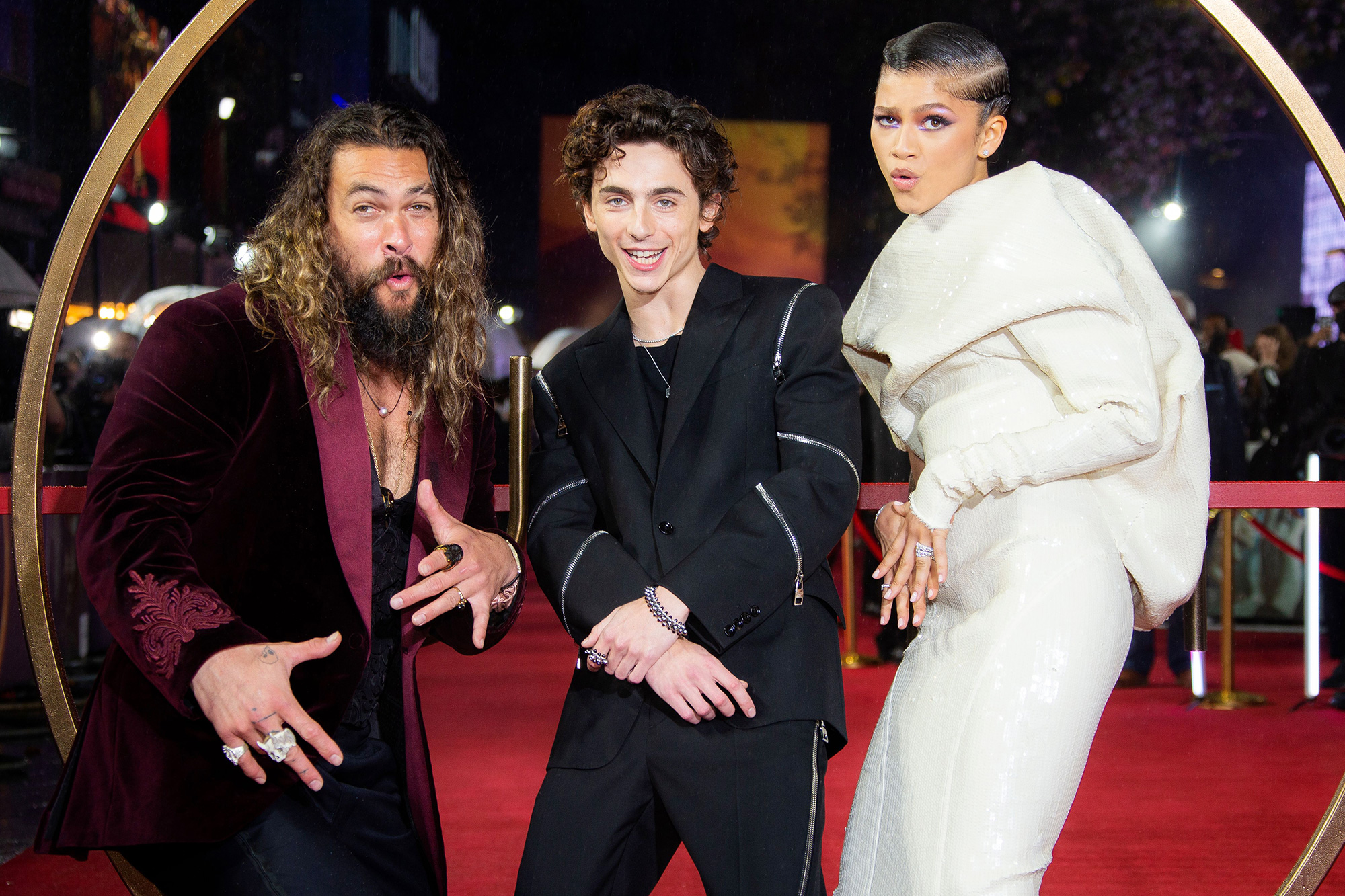 Zendaya, Timothee Chalamet and Jason Momoa, left, pose for photographers upon arrival at the premiere of the film 'Dune' on in London Dune UK Premiere, London, United Kingdom - 18 Oct 2021