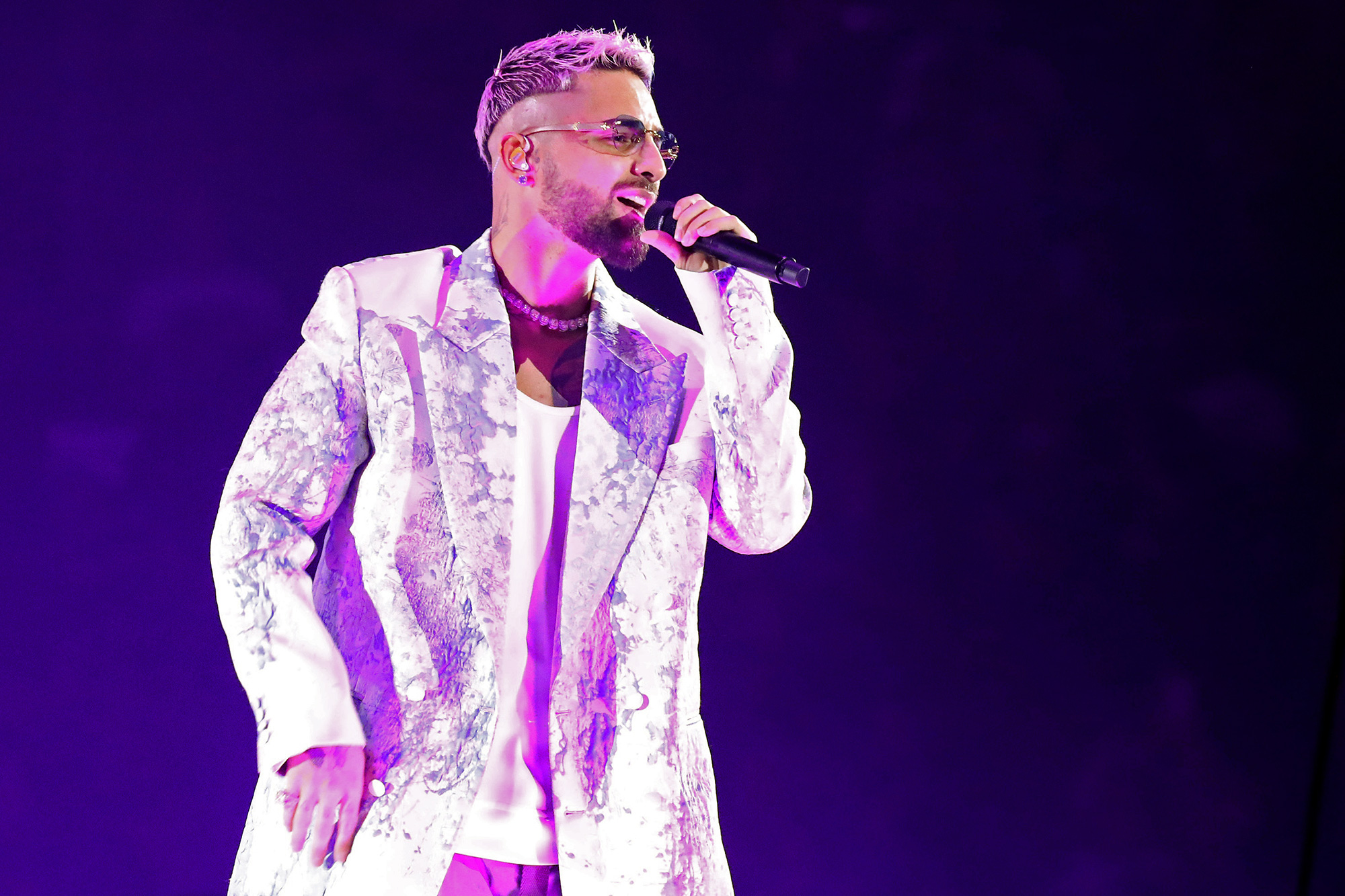 """Maluma performs during the """"Papi Juancho"""" World Tour at Scotiabank Arena on October 21, 2021 in Toronto, Ontario"""