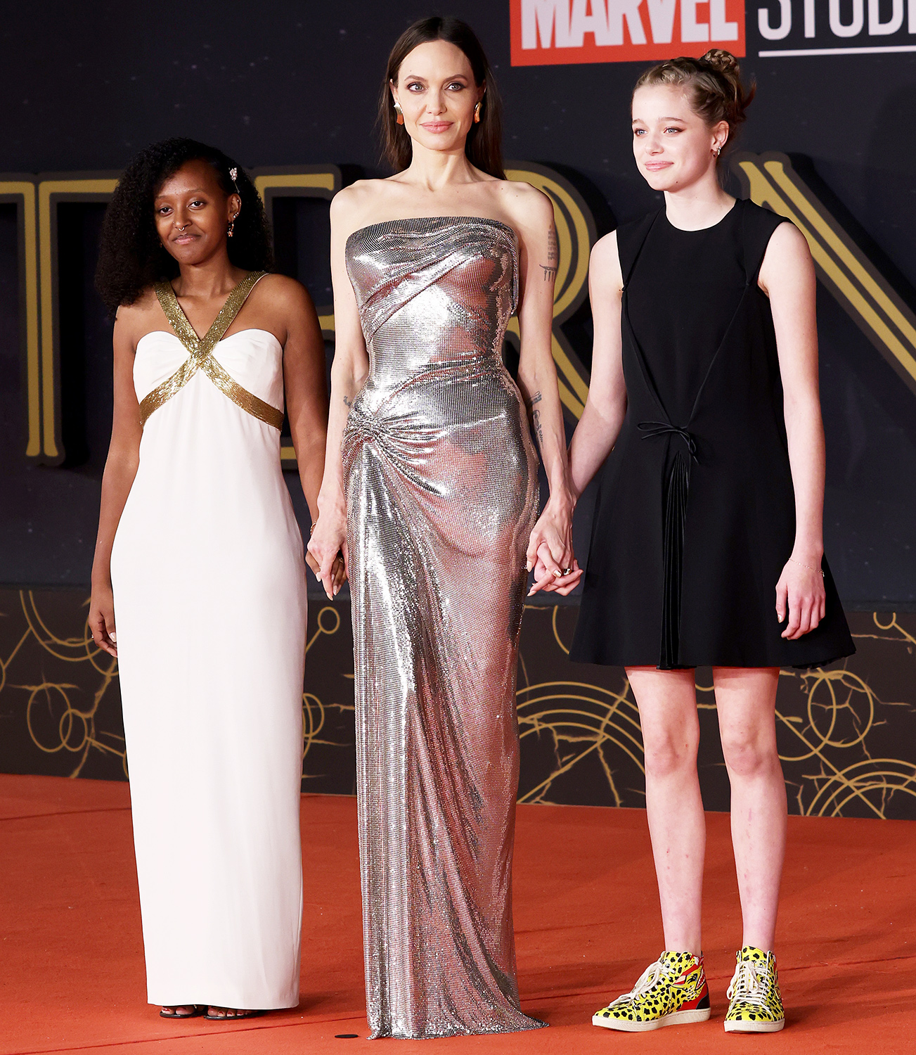 """(L-R) Zahara Marley Jolie-Pitt, Angelina Jolie and Shiloh Jolie-Pitt attend the red carpet of the movie """"Eternals"""" during the 16th Rome Film Fest 2021 on October 24, 2021 in Rome, Italy."""