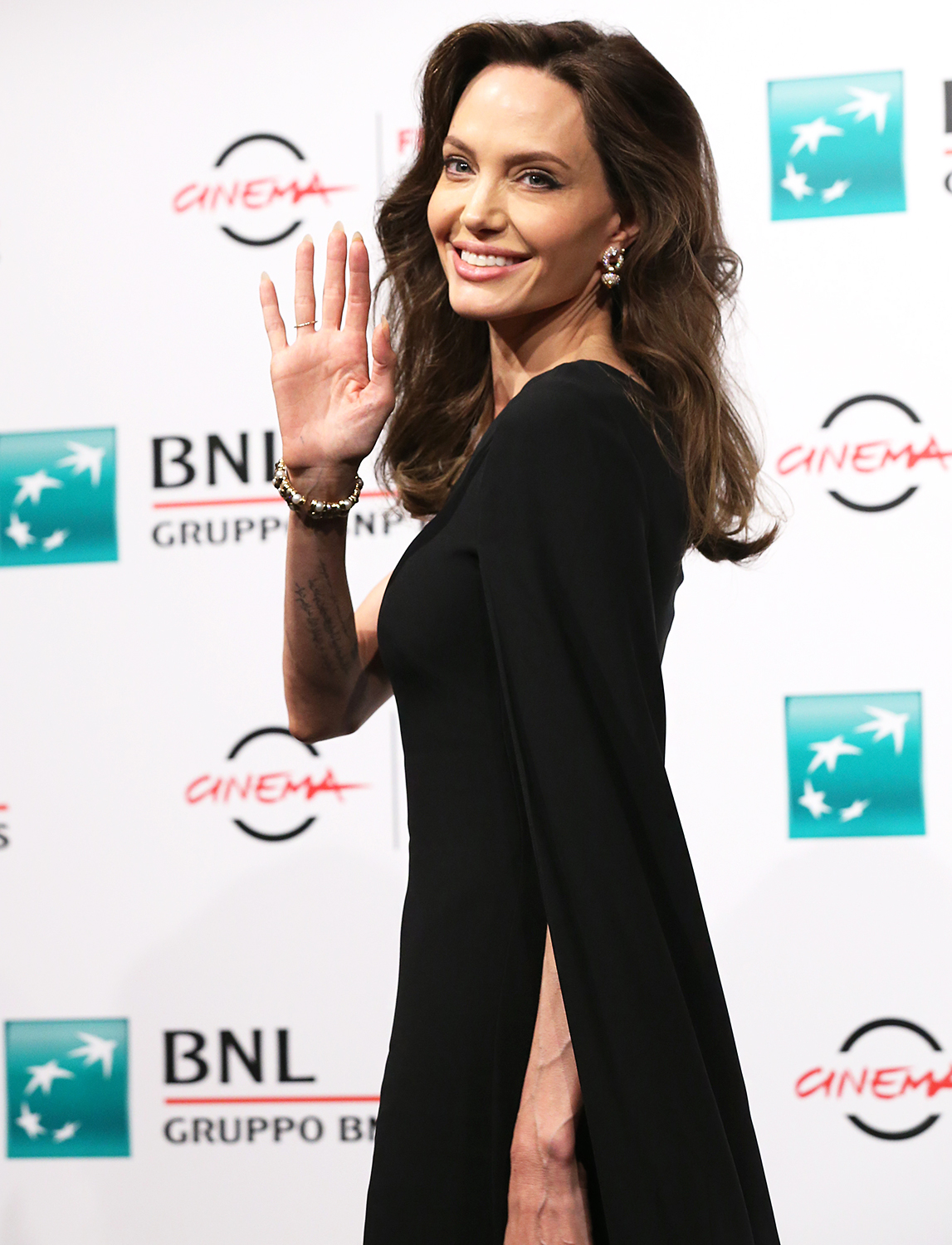 """Angelina Jolie attends the photocall of the movie """"Eternals"""" during the 16th Rome Film Fest 2021 on October 24, 2021 in Rome, Italy."""