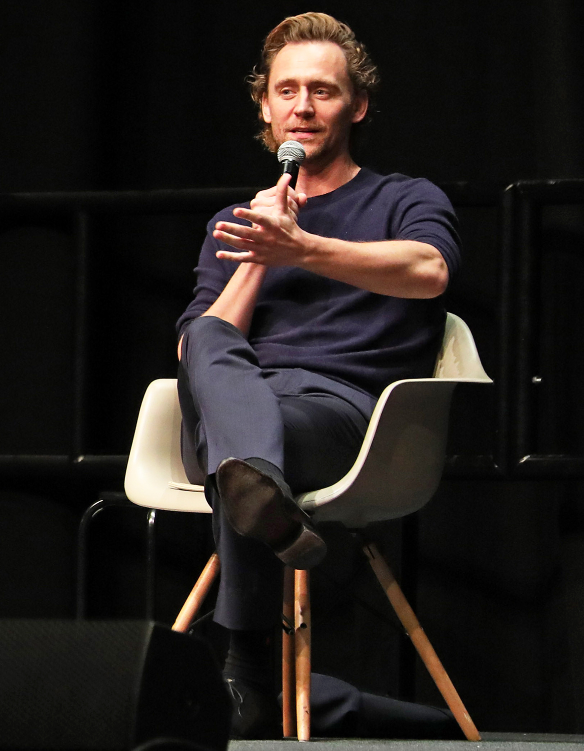 Tom Hiddleston who plays Loki, speaking at MCM London Comic Con at Excel in London on October 23, 2021.