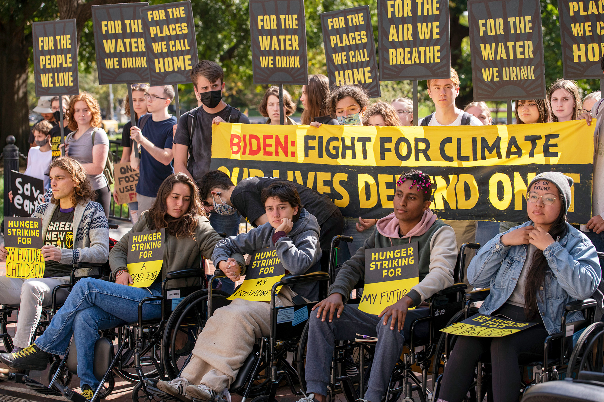 Environmental activists protest and five individuals stage a hunger strike to call for greater climate protections in the current spending bills being debated in Congress in Washington, D.C. on October 22, 2021.
