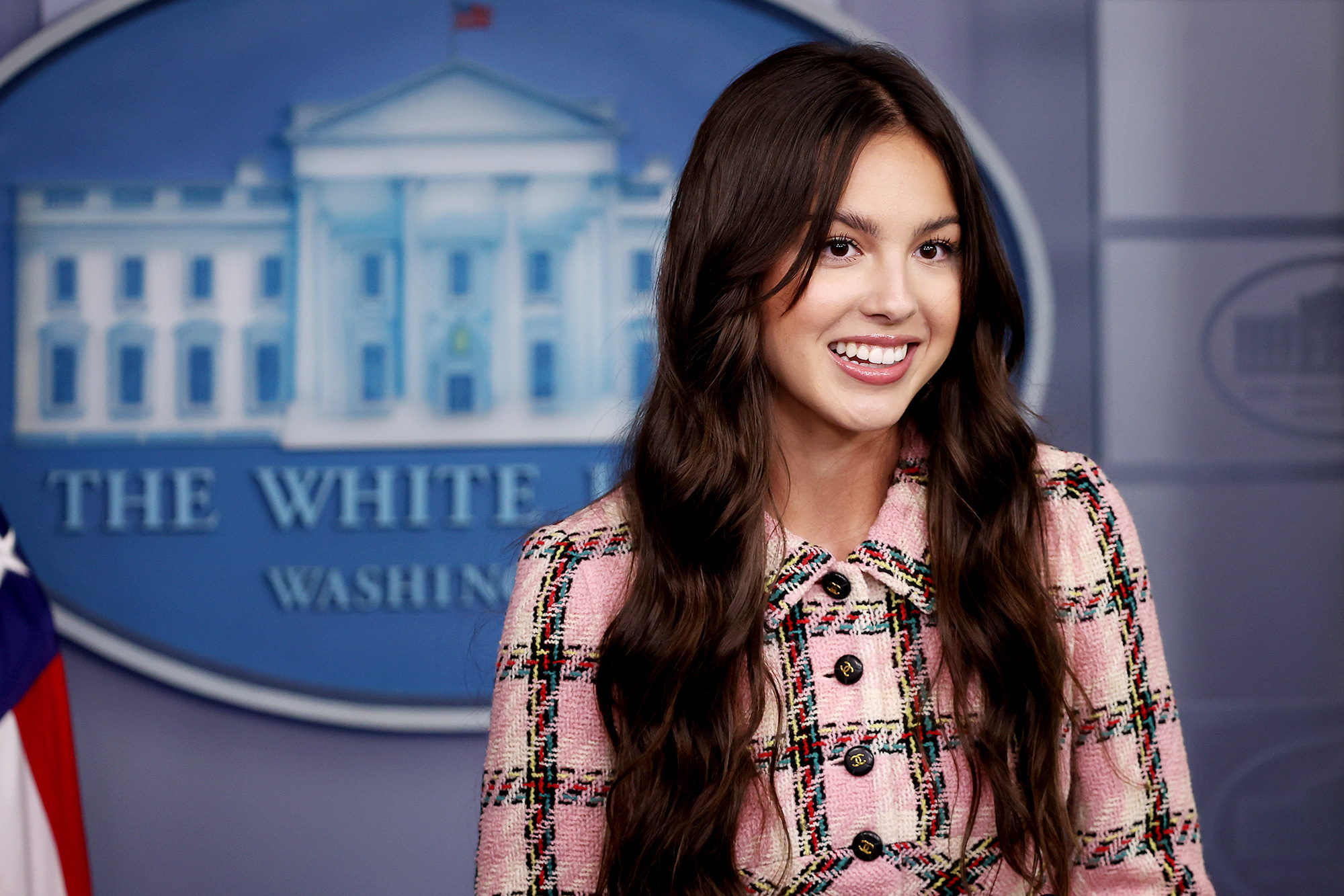 Olivia Rodrigo makes a brief statement to reporters at the beginning of the daily news conference in the Brady Press Briefing Room at the White House on July 14, 2021 in Washington, DC