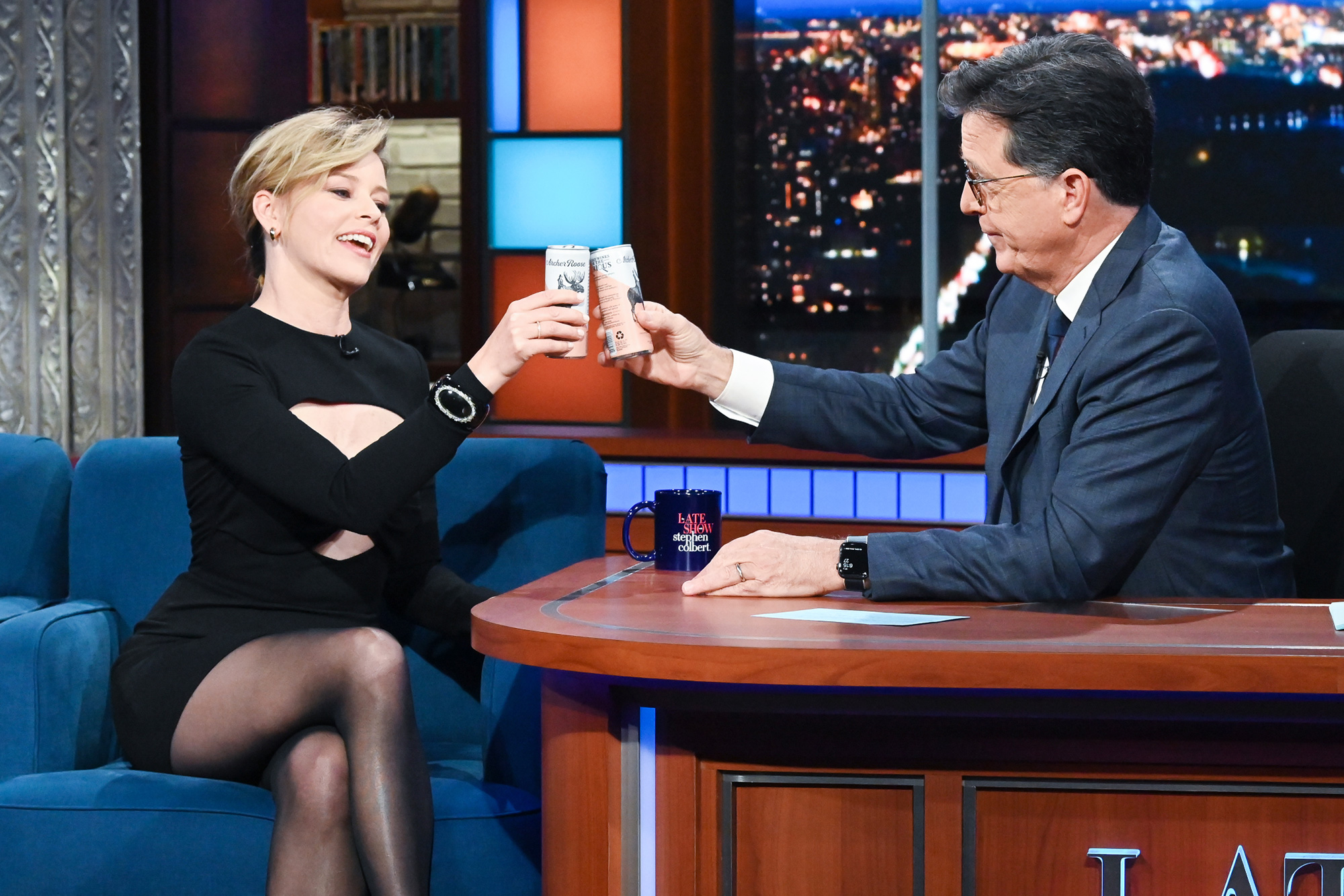 The Late Show with Stephen Colbert and guest Elizabeth Banks during Wednesday's October 27, 2021 show. Photo: Scott Kowalchyk/CBS ©2021 CBS Broadcasting Inc. All Rights Reserved.