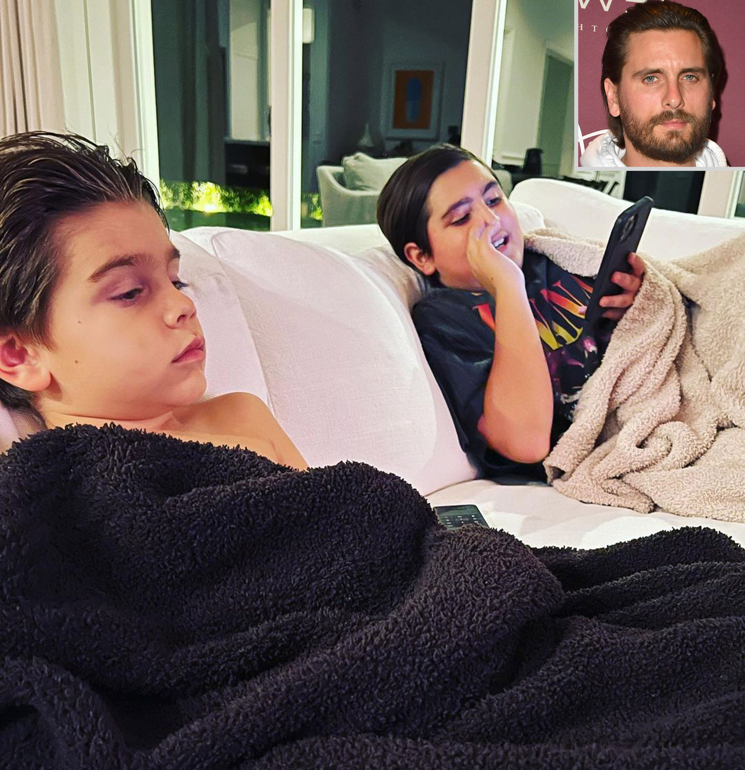 Scott Disick with Mason and Reign