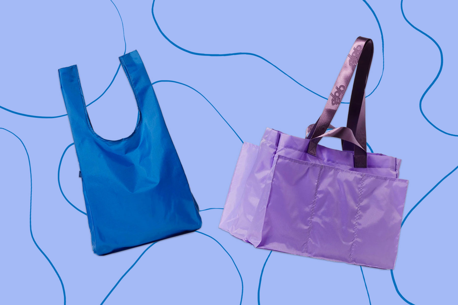 Blue and purple polyester nylon totes