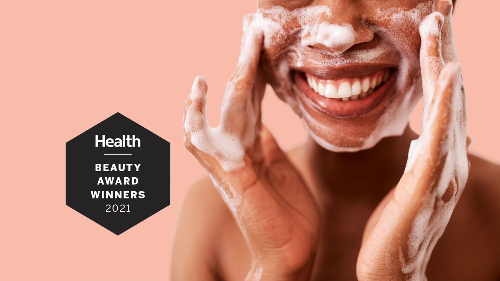 beauty awards , Studio shot of an unrecognizable woman washing her face against a white background