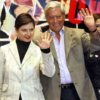 Isabella Rossellini y Mario Vargas Llosa