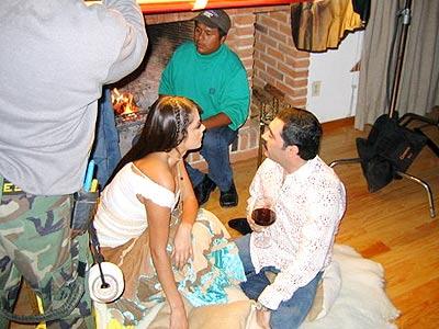 Marlene Favela durante el rodaje del vídeo con los Tucanes de Tijuana.