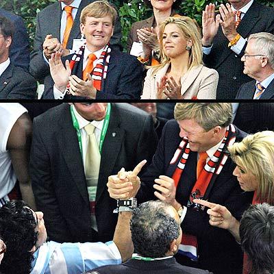 Los príncipes de Holanda y Maradona en Alemania.