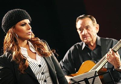 Olga Tañón en plena grabación de su vídeo.