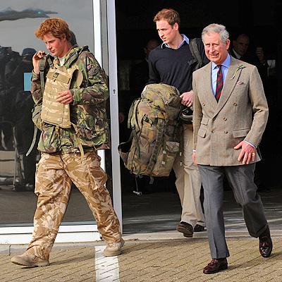 Prince Harry con Prince Charles y Prince William