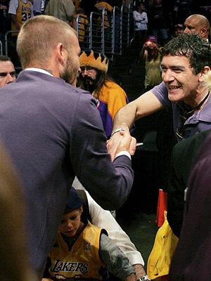 David Beckham y Antonio Banderas