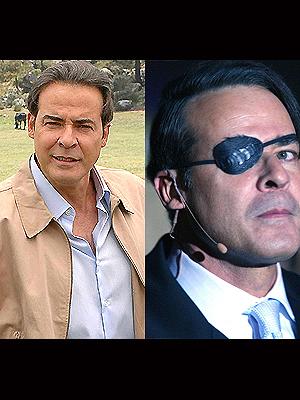 """César Évora como """"Gabriel"""" y """"Damián"""", los gemelos de Mundo de fieras."""