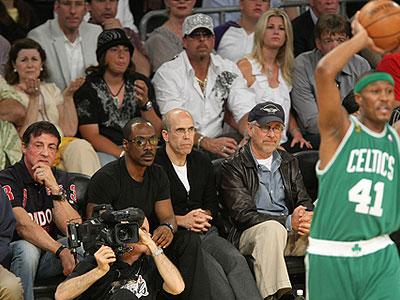 Sylvester Stallone, Eddie Murphy, Steven Speilberg y Katzenberg