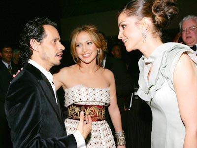 Marc Anthony, Jennifer López y Rania de Jordania en Nueva York.