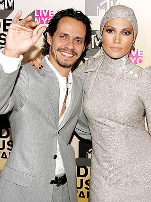 Marc Anthony y Jennifer López en los VMA.