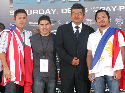 Óscar de la Hoya, Piolín, George López, Many Pacquiao