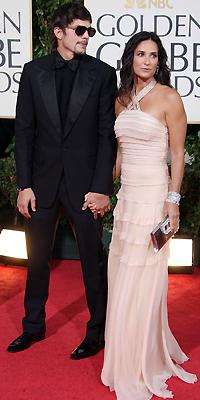 Demi Moore, Ashton Kutcher, Golden Globes bien vestidos