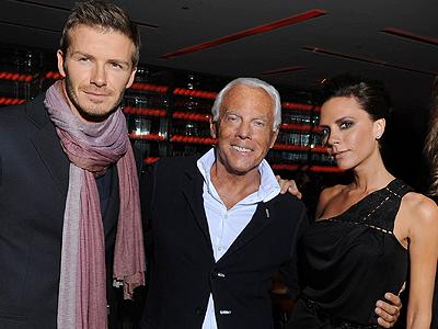 David Beckham, Giorgio Armani, Victoria Beckham