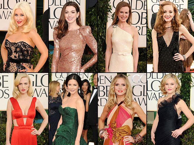 Christina Aguilera, Anne Hathaway, Nicole Kidman, Jayma Mays, January Jones, Catherine Zeta-Jones, Heidi Klum, Julia Stiles, Golden Globes 2011