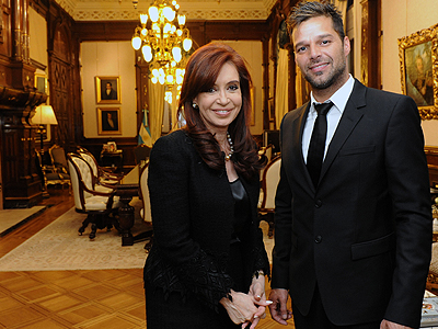 La presidenta Cristina Fernández de Kirchner y Ricky Martin