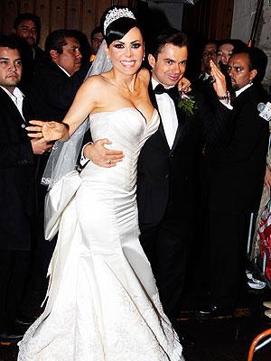 Maribel Guardia y Marco Chacón el día de su boda
