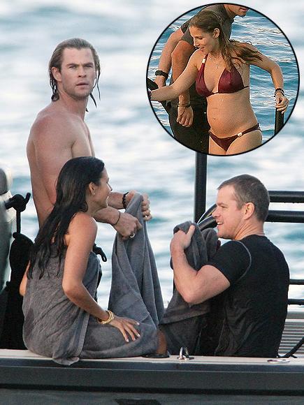 Matt Damon, Luciana, Chris Hemsworth, Elsa Pataky
