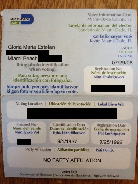 Tarjeta Electoral de Gloria Estefan