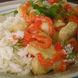 Pollo con jengibre y limón en arroz con coco