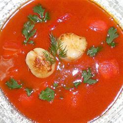 Crema de tomate y tofu