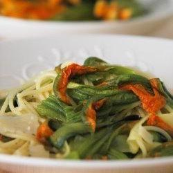 Spaghetti con flor de calabaza