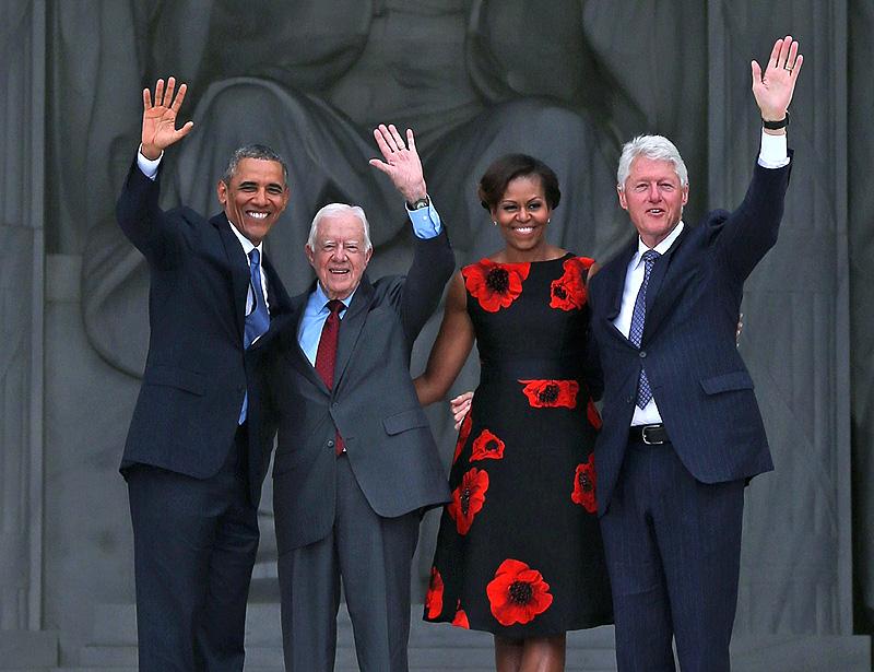 Barack Obama, Michelle Obama, Jimmy Carter, Bill Clinton, Míralos