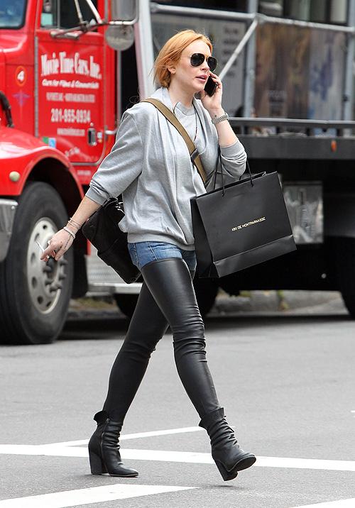 Lindsay Lohan, cuero, pantalones