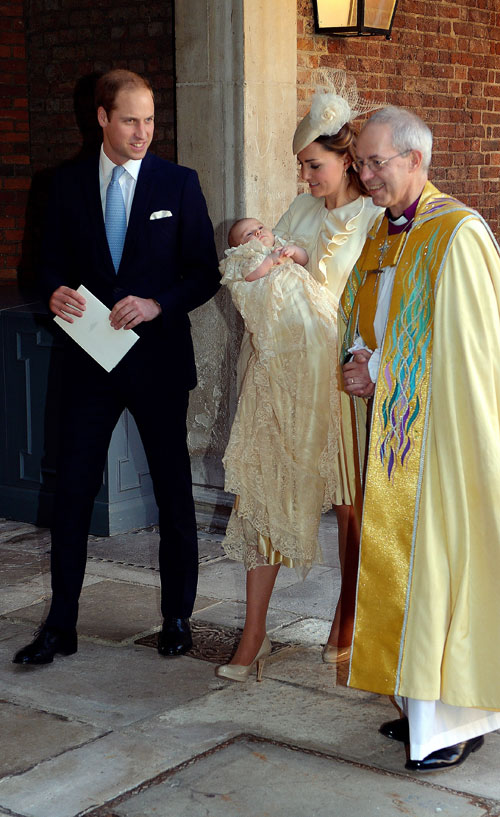 El príncipe William, Kate Middleton, príncipe George, Justin Welby, bautizo real