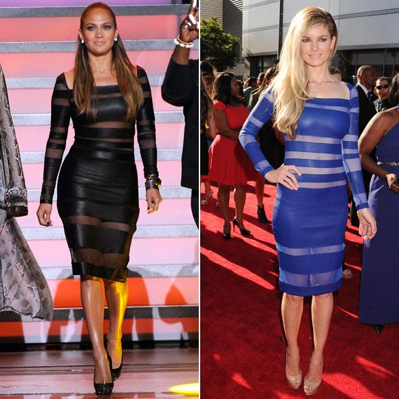 Jennifer López, Marisa Miller, dos mujeres un vestido