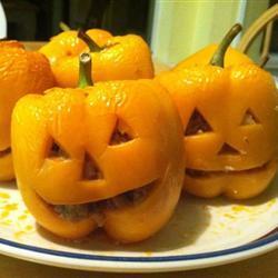 Pimientos Halloween rellenos de carne