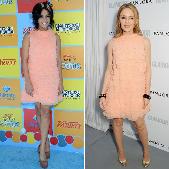 Vanessa Hudgens, Kylie Minogue, Dos mujeres un vestido