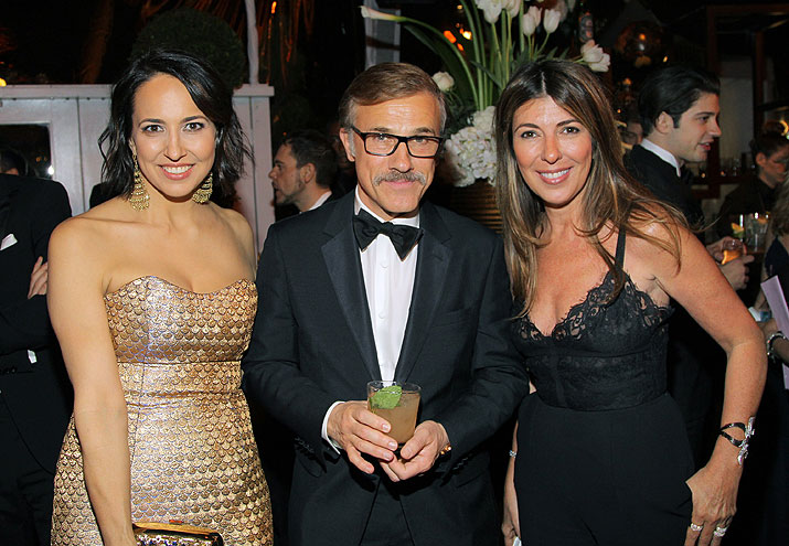 Globos de Oro 2014 fiesta después, Christoph Waltz, Anne Fulenwider, Nina García