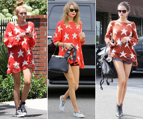 Miley Cyrus, Taylor Swift, Selena Gómez, dos mujeres